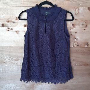 J. Crew Blue Lace Ruffle Neck Top Small